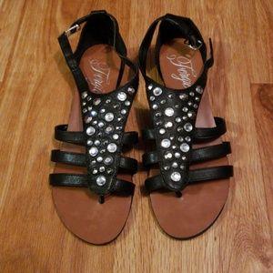 Fergie black leather studded gladiator sandal